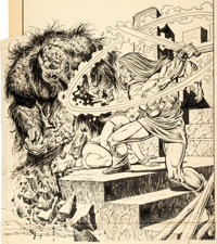 Gil Kane and Ernie Chan Fear #19 Cover Man-Thing Original Art (Marvel, 1973)