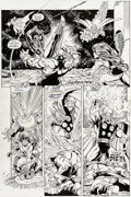 Original Comic Art:Panel Pages, Ron Lim, George Pérez, Joe Rubinstein, and Bruce N. Solotoff Infinity Gauntlet #4 Story Page 28 Thanos and Thor Or...