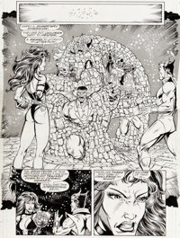 Ron Lim and Joe Rubinstein Infinity Gauntlet #5 Story Page 39 Drax the Destroyer and Thor Original Art (Marvel, 19