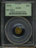 California Fractional Gold: , 1875 50C Indian Round 50 Cents, BG-1037, R.4, AU58 PCGS. ...