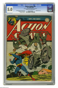 Action Comics #76 (DC, 1944) CGC VG/FN 5.0 Cream to off-white pages. Japanese war cover by Wayne Boring and Stan Kaye. E...