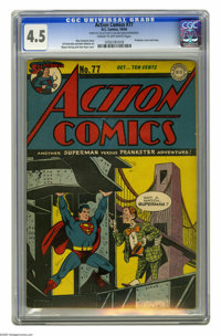 Action Comics #77 (DC, 1944) CGC VG+ 4.5 Cream to off-white pages. Prankster cover and story. Wayne Boring and Stan Kaye...
