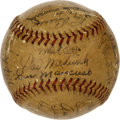 Autographs:Baseballs, 1944 New York Giants Team Signed Baseball. The Hall of Fame sluggerMel Ott took the reigns of his New York Giants in 1942 ...