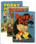 "Golden Age (1938-1955):Cartoon Character, Four Color Porky Pig Group (Dell, 1943-50). Seven-issue group lotincludes #16 (Porky Pig [#1] in ""Secret of the Haunted Hou... (7Comic Books)"