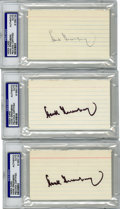 Autographs:Index Cards, Hank Greenberg Signed Index Cards, PSA-Graded Group Lot of 3. The fearsome Detroit Tigers slugger Hank Greenberg earned his ...