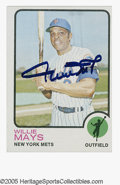 Autographs:Sports Cards, Willie Mays Signed 1973 Topps Card. Perfect black sharpie signature on an EX card. With LOA from PSA/DNA....