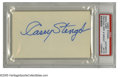 "Autographs:Index Cards, Casey Stengel Signed Index Card. The Hall of Fame manager penned his perfect blue ink signature on a blank 3x5"" card. Slab..."