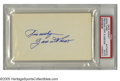 "Autographs:Index Cards, Zach Wheat Signed Index Card. A flawless blue ink inscription on a blank 3x5"" card derives from the early Brooklyn Dodgers ..."