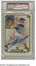 Autographs:Post Cards, Ted Williams Signed Donruss Post Card. A perfect blue sharpie signature from the greatest hitter that ever lived. Slabbed ...