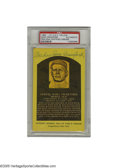 Autographs:Post Cards, Sam Crawford Signed Gold Hall of Fame Plaque. A perfect blue inksignature from Ty Cobb's right hand man. Slabbed by PSA f...