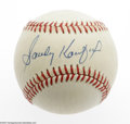 Autographs:Baseballs, Sandy Koufax Single Signed Baseball. ONL (Feeney) baseball offers 10/10 blue ink sweet spot signature from this Dodgers hero...