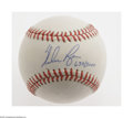 Autographs:Baseballs, Nolan Ryan Single Signed Baseball. OAL (Brown) baseball offers10/10 blue ink sweet spot signature from the pitching superst...