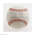 Autographs:Baseballs, Warren Spahn and Johnny Sain Multi-Signed Baseball. ONL (Giamatti)baseball offers 10/10 blue ink sweet spot signatures fro...
