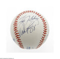 Autographs:Baseballs, New York Yankees Multi-Signed Baseball. OAL (Budy) baseball offers10/10 blue ink signatures from Hall Of Famer Wade Boggs,...