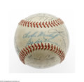 Autographs:Baseballs, 1947 New York Yankees Team Signed Baseball. OAL (Harridge) baseball offers signatures from VG to EX condition. Key signatu...