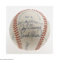Autographs:Baseballs, Old Timers Multi-Signed Baseball. OAL (Brown) baseball offerssignatures in NRMT condition. Key signatures include Ted Will...