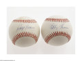 Autographs:Baseballs, Bobby Thomson And Ralph Branca Single Signed Baseballs. BobbyThomson ONL (Brown) baseball offers 9/10 blue ink sweet spot s...(2 Items)