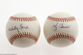 Autographs:Baseballs, New York Yankees Single Signed Baseballs Lot of 2. Sweet spotsignatures from Hall of Famers Whitey Ford and Yogi Berra on O...(2 Items)