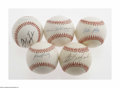 Autographs:Baseballs, Boston Red Sox Legend Single Signed Baseballs Lot of 5. Sweet spotsignatures on OAL balls from Dom DiMaggio, Johnny Pesky, ... (5Items)
