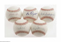Autographs:Baseballs, Miscellaneous Signed Baseballs Lot of 5. Single sweet spot signedofficial baseballs include Clyde Sukeforth, Ed Lopat, Rex ... (5Items)
