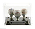 Autographs:Baseballs, 1999 Hall Of Famers Single Signed Baseballs Lot of 3. Three singlesigned baseballs with display case of the Hall of Fame Cl...