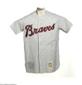 "Autographs:Jerseys, Hank Aaron Signed Jersey. Perfect replica of Hammerin' Hank's roadgrey Braves flannel is signed on front with appealing ""H..."