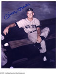 "Autographs:Photos, Mickey Mantle Signed Photograph. Classic 8x10"" image of a boyishMick is signed in perfect blue sharpie. With LOA from PSA..."