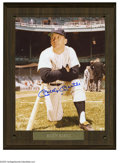"Autographs:Photos, Mickey Mantle Signed Photograph. Perfect blue sharpie signaturefinds a home on an 8x10"" color photograph. Photo is affixe..."
