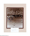 Autographs:Photos, Bobby Thomson And Ralph Branca Framed Autographs . Classic framedphoto of Bobby Thomson being mobbed at home plate after hi...