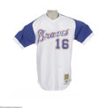 """Baseball Collectibles:Uniforms, 2002 Mark DeRosa Game Worn Throwback Jersey. The era of HankAaron's historic Babe-busting home run is recalled in this """"Tu..."""