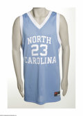 Basketball Collectibles:Others, Michael Jordan Signed UDA Tarheels Jersey. Perfect black sharpie signature has been applied to verso of this perfect replic...