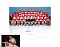 Hockey Collectibles:Others, Paul Henderson Signed Team Canada Photo. Classic 1972 Team Canada photo signed by Paul Henderson in blue sharpie. Included ...