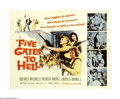 "Movie Posters:War, Five Gates to Hell (20th Century Fox, 1959). Half Sheet (22"" X28""). Fifties women with bandoleers and machine guns! James C..."