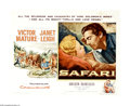 """Movie Posters:Adventure, Safari (Columbia, 1956). Half Sheet (22"""" X 28""""). Victor Maturehires on to lead a safari for Janet Leigh and her fiancee, Ro..."""