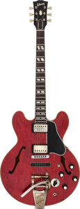 Musical Instruments:Electric Guitars, 1962 Gibson ES-345 Stereo Cherry Semi-Hollow Body Electric Guitar,Serial # 53338....
