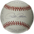 Autographs:Baseballs, Pete Rose Single Signed Stat Baseball. Limited edition (308/1000)baseball offers a sweet spot signature and a lengthy nota...