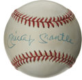 Autographs:Baseballs, Mickey Mantle Single Signed Baseball. A fine 9/10 blue ink sweetspot signature from the Mick appears on a lightly toned OA...