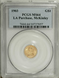 Commemorative Gold: , 1903 G$1 Louisiana Purchase/McKinley MS64 PCGS. Choice andremarkably lustrous for this issue with strong detail. Much of t...