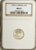 Seated Dimes: , 1874-S 10C Arrows MS67 NGC. In all Mint State grades, NGC and PCGShave certified just 45 examples of this scarce issue, an...