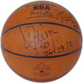 Basketball Collectibles:Balls, Tim Duncan and David Robinson Dual-Signed Basketball. For sixseasons, the front court pairing of Tim Duncan and David Robi...