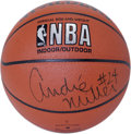 Basketball Collectibles:Balls, Andre Miller Single Signed Basketball. The Spalding basketball thatwe make available here has been adorned with a 10/10 sh...