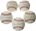 Autographs:Baseballs, Atlanta Braves Greats Single Signed Baseballs Lot of 5. Each of theofficial National League baseballs that we see here has...