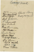 Autographs:Others, 1936 Philadelphia Athletics Team Signed Sheet. Connie Mack's secondgreat dynasty dismantled, the Tall Tactician was suffer...