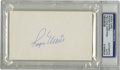 "Autographs:Index Cards, Roger Maris Signed Index Card. The heroic slugger of 1961 pennedhis perfect blue ink signature on a blank 3x5"" card. Slabb..."