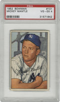 Baseball Cards:Singles (1950-1959), 1952 Bowman Mickey Mantle #101 VG/EX PSA 4. Offered is thesecond-year card from Bowman of the New York Yankees great HOFer...