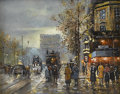 Fine Art - Painting, European:Other , C. FRANCO. Paris Street Scene. Oil on canvas. Signed tolower right. 8in. x 10in.. ...