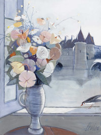 CHARLES LEVIER (American, 1920-2004) Fleur Sur un Etage Oil on canvas Signed to lower right 40in. X 30in