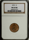 Indian Cents: , 1874 1C MS65 Red and Brown NGC. NGC Census: (102/22). PCGSPopulation (70/2). Mintage: 14,187,500. Numismedia Wsl. Price: $...