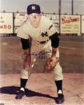"Autographs:Photos, Mickey Mantle Signed ""1951"" Oversized Photograph. Brilliant 16x20""portrait of a teenaged Mickey Mantle as a rookie with th..."