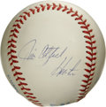 Autographs:Baseballs, Jim Catfish Hunter Single Signed Baseball. OAL (Brown) baseballseen here sports a full name side panel signature via Hall ...